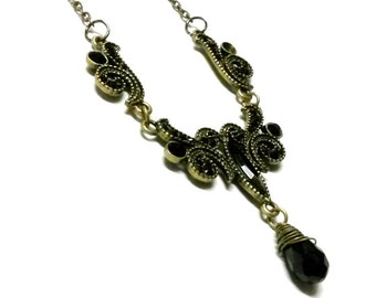 Black Victorian Necklace Steampunk Gothic Handmade jewelry Gift