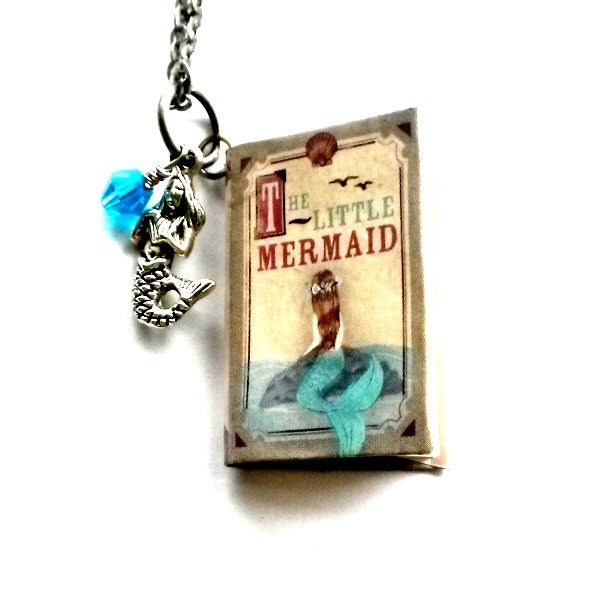 Little Mermaid Necklace Mini Book Journal Pendent Handmade