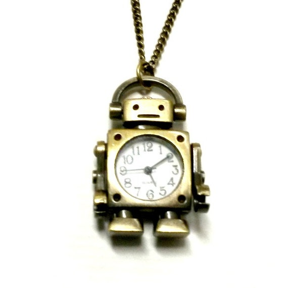 Robot Watch Necklace Steampunk Watch Handmade Gift Etsy