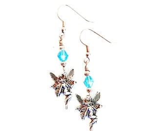 Fairy earrings antique silver turquoise crystal  Handmade Gift