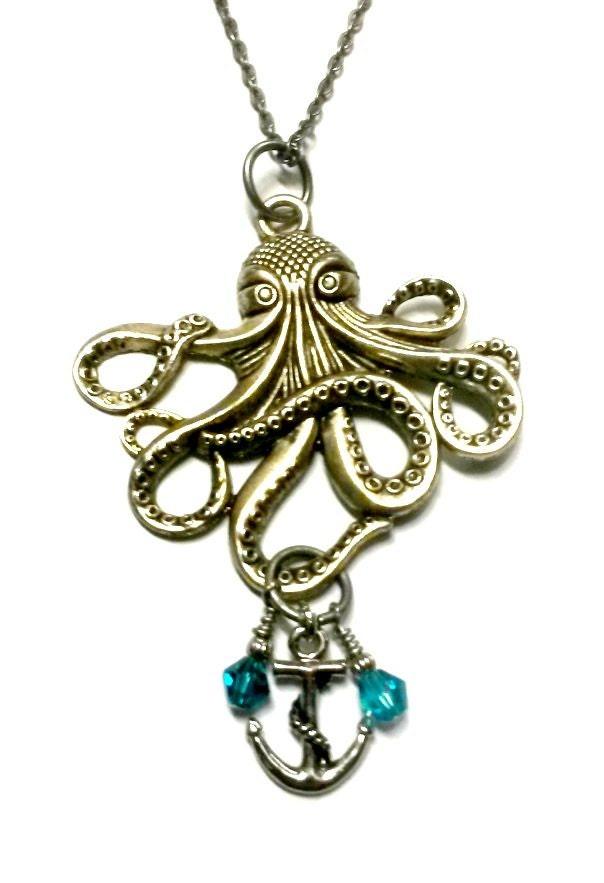Octopus Necklace With Anchor Steampunk Kraken Silver Or