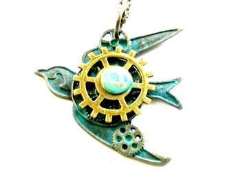 Bird Necklace Steampunk Swallow Handmade Gift