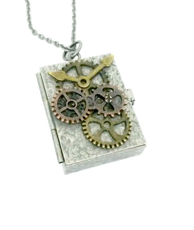Gear Box Locket Steampunk Lucky Stash Box Necklace
