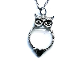 Owl Magnifying Glass Necklace Steampunk Reading glasses necklace Handmade Gift