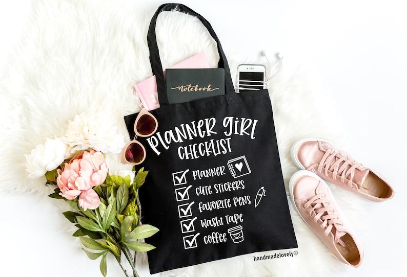 Planner Canvas Bag Planner Gift Planner Accessory Llama Gift Planner Girls Checklist Tote Bag Planner Girl Gifts