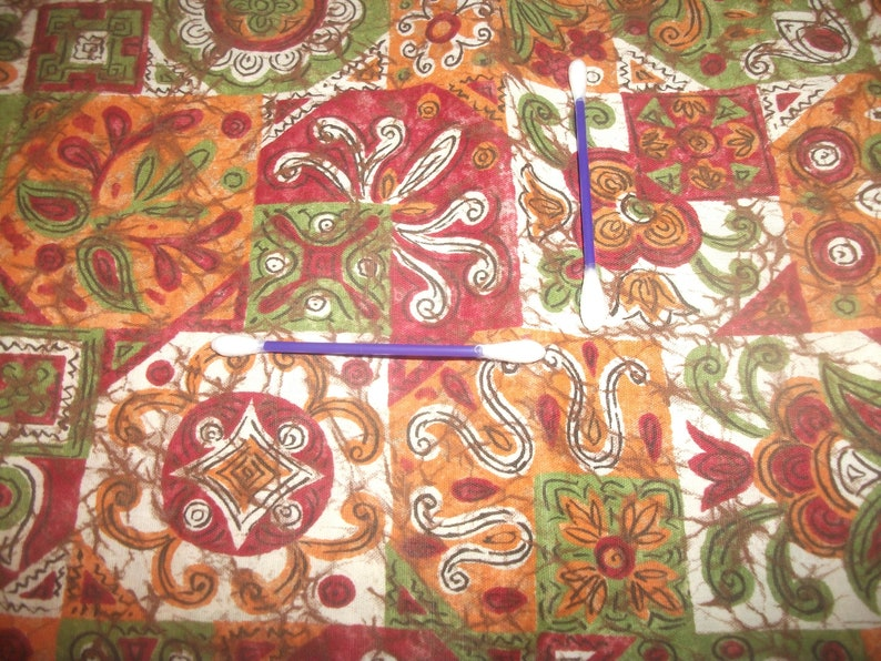 Antique 1940/'s Abstract Geometric Patchwork 36 inch Wide cotton fabric Vintage Dressmaker cotton O.O.P quilt sewing collect Olive Orange Red