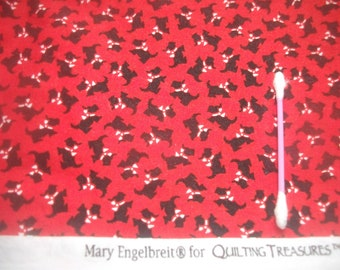 Mary Engelbreit RARE Scottie Dogs Red OOP cotton fabric Mary's Quilting Treasures M.E. Quilting Sewing face mask covering sew Doll DIY Craft
