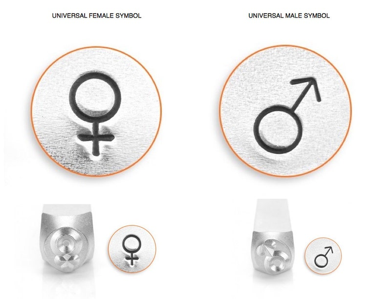 ImpressArt 6mm MALE Universal Symbol Metal Stamp jewelry image 0
