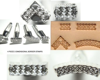 4 Pc Leather Stamps - BORDER / FLOURISH Stamps, 3 D Stamps, Leather/ Ceramic / Clay Stamps, 3D metal stamps, metal stamping tools