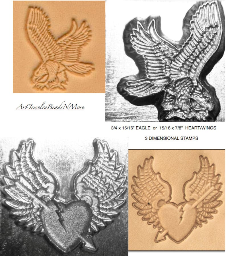 15 16x7 8 HEART WINGS Or 3 4x15 16 EAGLE Stamp