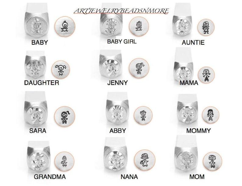 Baby Mom Daughter Mommy Metal jewelry stamps Sara Abby STICK FIGURE ImpressArt Metal Stamps BabyBaby Girl Jenny Nana,Grandma
