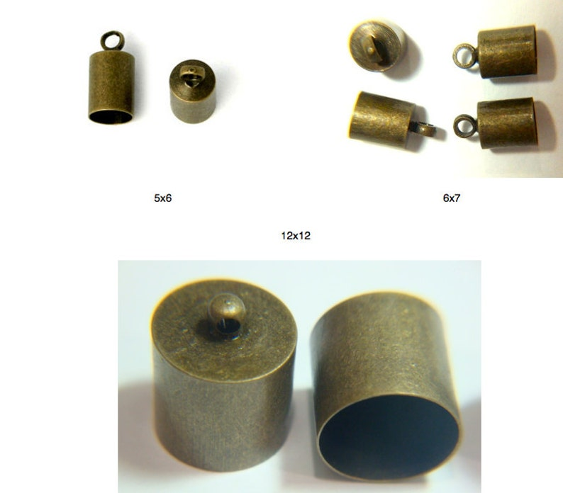 30 5x6 6x7 OR 12x12x11 Antique Bronze End Caps with loop image 0