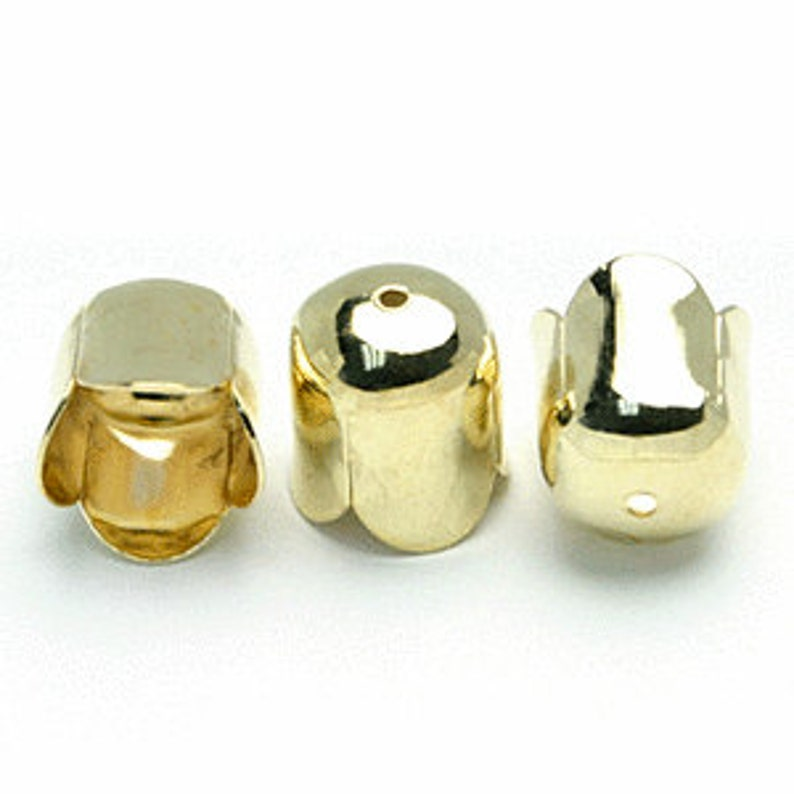 36 6mm Gold Plated End Caps for Cord Ends Kumihimo End Caps image 0