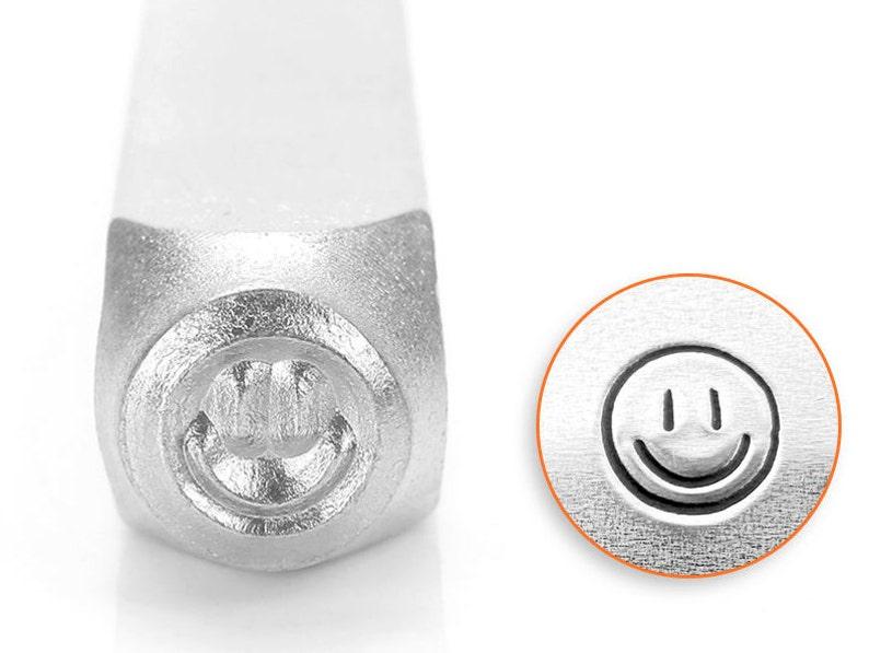 3mm or 6mm Smiley Face metal stamp Impressart Happy Face image 0