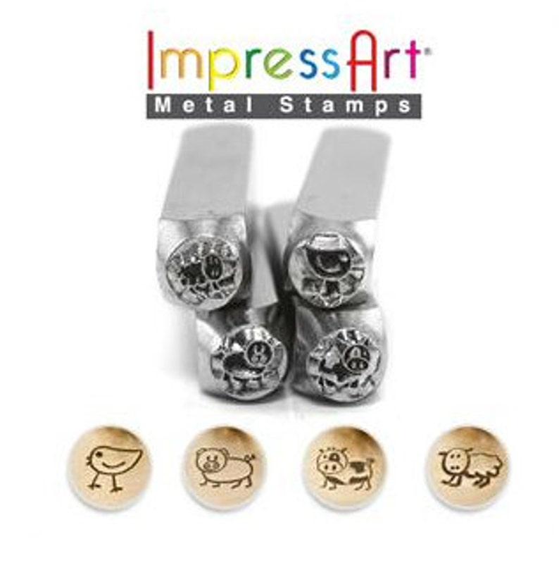 ImpressArt FARM Animal Metal Stamp set  Fluffy /Sheep Moo/ image 0