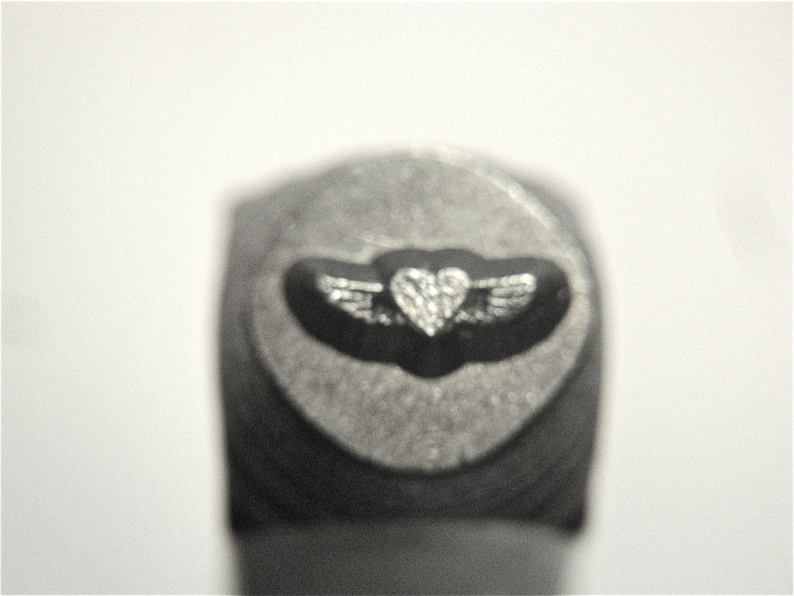 6mm HEART WINGS Stamp Flying Heart heart with wings Winged image 0