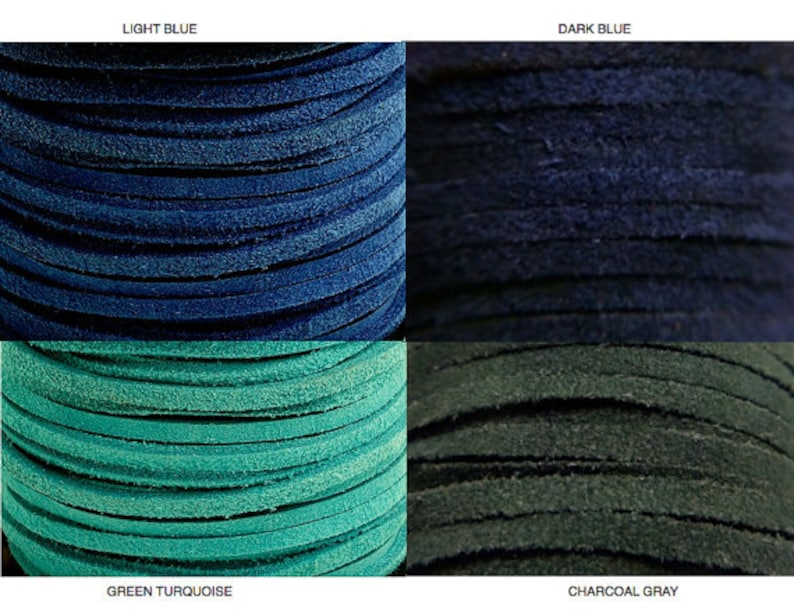 4 Yd 3.5mm SUEDE LEATHER Lacing Cord Navy / Blue/ Turquoise / image 0