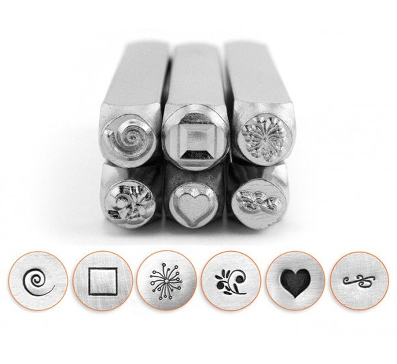 metal stamping tools ImpressArt 6pc Set: Swirl Cube Dandelion Floral Swirl Solid Heart  Flourish jewelry stamps metal stamps  set