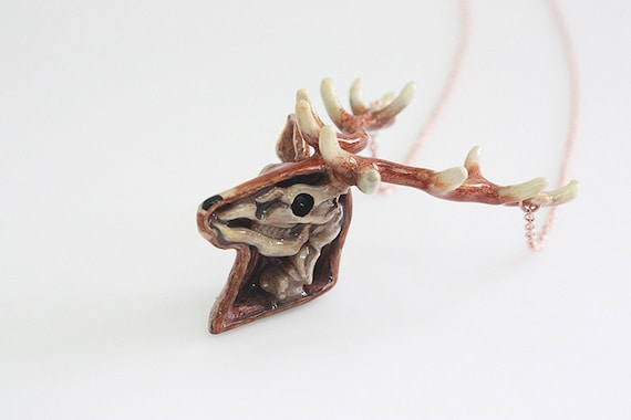 Anatomy of A Deer Head Skeleton Pendant with Hand-Painted | Etsy