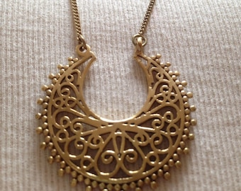 Brass long chain necklace with pendant, brons, bronze, hipster necklace, gypsy jewelry, hippie jewelry, boho necklace,