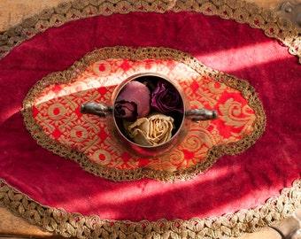 Handmade Rubious velvet with purl fabric