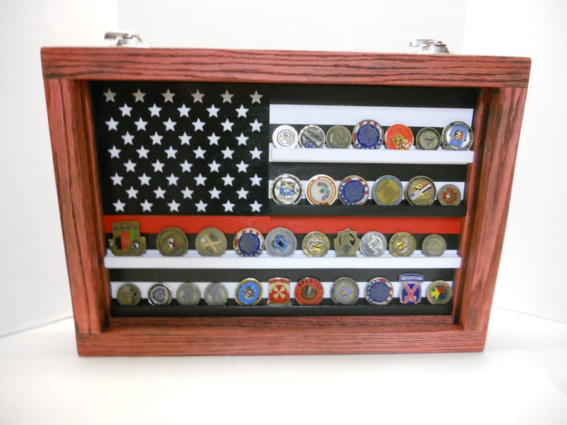 Thin Red Line Coin Case, challenge coin display, Fire fighter coin holder,  Challenge coin display case