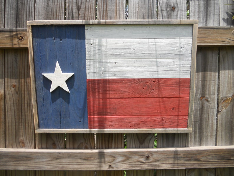 Rustic Wood Texas Flag Reclaimed Wood Wall Art Distressed Finish