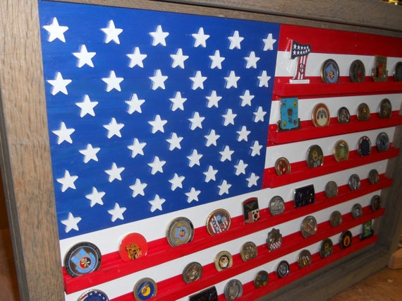 Wall Coin Display Case Wood American Flag Military Coin Holder Military Challenge Coin Display