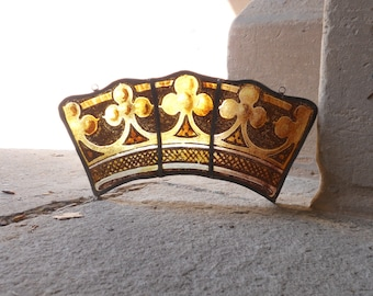 Antique Stained Glass Sun Catcher - Gothic Revival glass - Authentic English Church Glass - 1890's Church window glass - Glass Crown