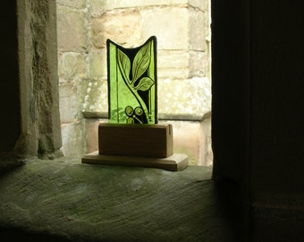 Antique Stained English Church Glass housed in a Plinth - Antique Glass for Desk Mantle or Window Sill - Victorian Stained Glass -  Vintage