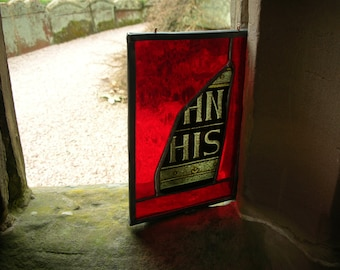 Antique Stain Glass - Gothic Revival 1800's Window Fragment From an Old English Church - Artefact - Church Window - His - Ancient English