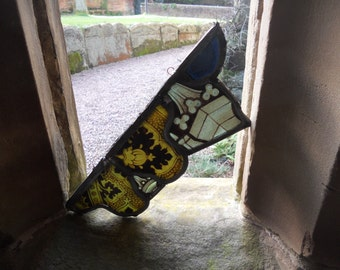 Antique Stain Glass - Gothic Revival 1800's Window Fragment From an Old English Church - Artefact -  - Sun Catcher