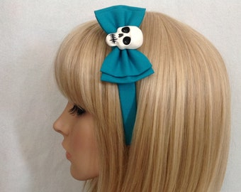 Turquoise skull headband hair bow rockabilly psychobilly sugar teal gothic Lolita cute pin up girl Halloween accessories punk ladies