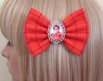 Strawberry print hair bow clip rockabilly pin up girl vintage cute kawaii kitsch