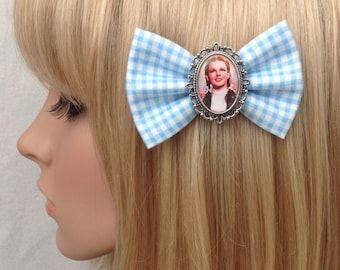 Dorothy Wizard of Oz hair bow clip rockabilly psychobilly pin up fabric light blue gingham accessories toto witch ruby slippers girls women