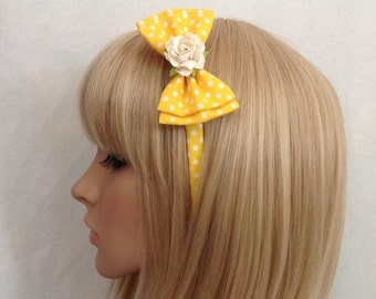 Yellow white polka dot rose headband hair bow rockabilly psychobilly gothic Lolita cute pin up girl vintage shabby chic floral pretty
