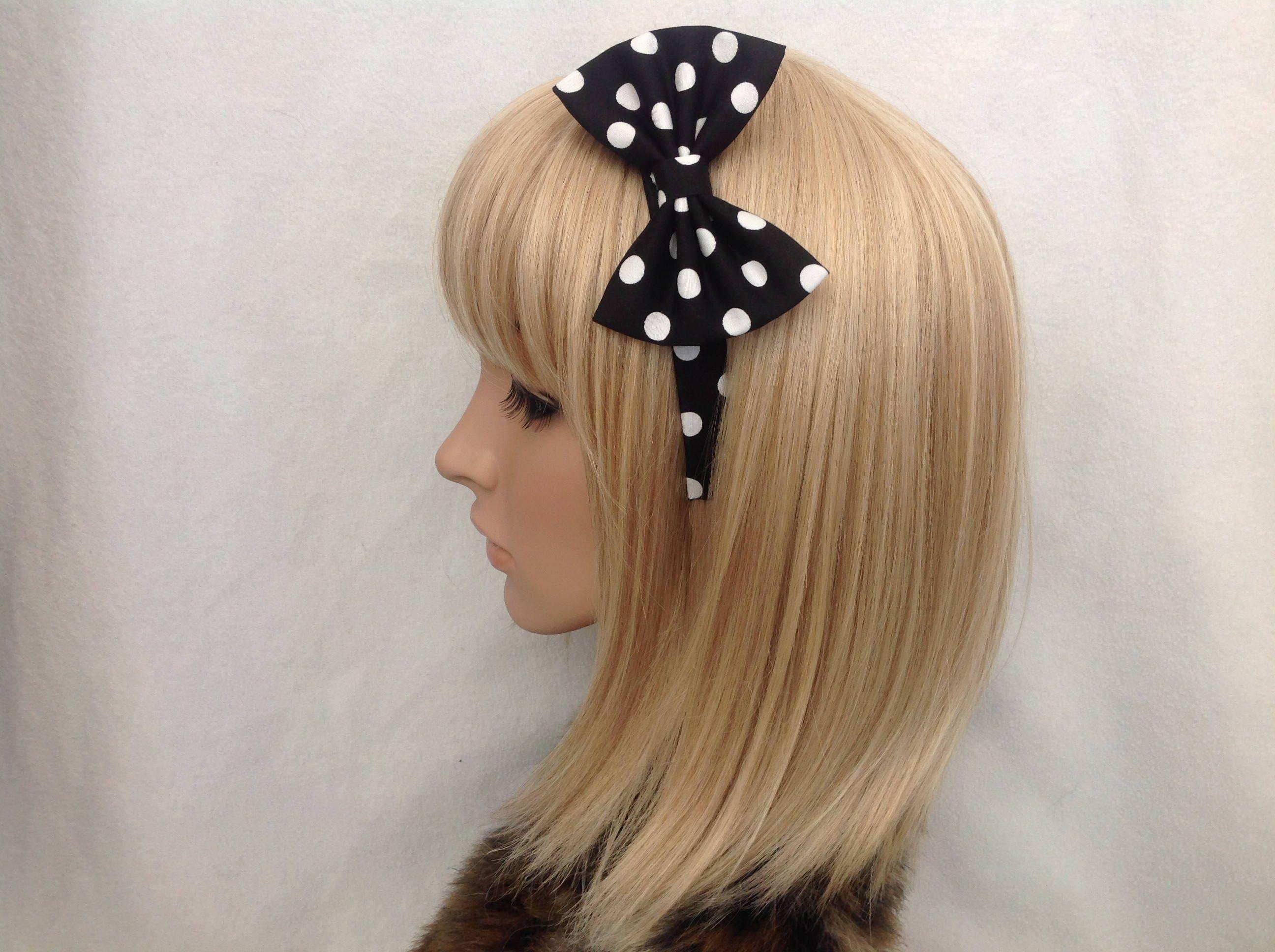 Baby Blue Pastel Gingham Girls Bow Hair Clip Retro Kitsch 50s Rockabilly Lolita