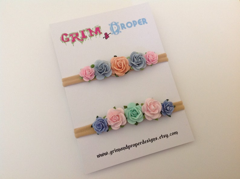 Nylon flower rose headband newborn cute pretty baby girls stretchy soft vintage