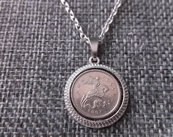 gift pendant copper coin 925 sterling silver birthday gift silver pedant jewelry *necklace with coin Pendant coin Russia 1887