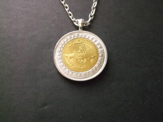 Egyptienne 1 Livre De Piece De Monnaie Collier Egypte Or Et Argent Piece Pendentif Avec Beliere Et Chaine