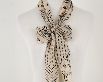 Vintage Dotted Flocked Sheer Tapered Oblong Scarf by Lucee USA