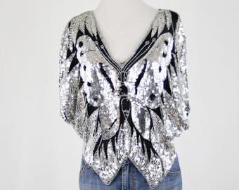 1980s Silver Sequined Butterfly Top Blouse