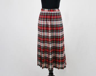 1990s Pendleton Wool Plaid Pleated Skirt