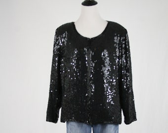 1980s Black Sequined Beaded Silk Jacket by Stenay Large