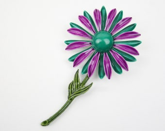1970s Flower Brooch Enameled Metal