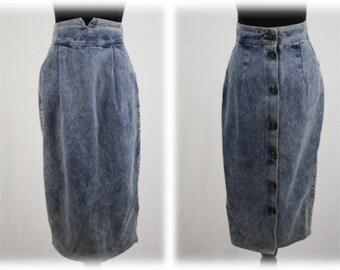 27b0baf7e 1980s Denim Skirt Zena Acid Washed High Waisted Pencil Skirt Buttons Up the  Back