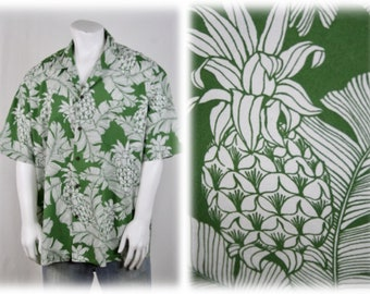 c4a5f58e Vintage Hawaiian Shirt Cotton Green Pineapples by Aloha Republic Size XXL