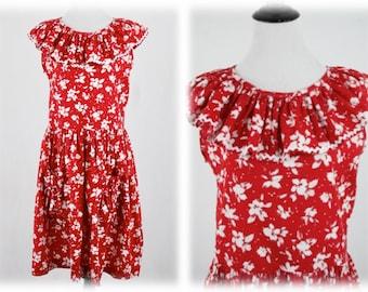 5fcb68c9e86 Vintage Red White Cotton Sundress Cute Pockets Handmade