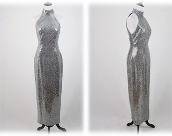 7b8943f4fe1 1990s Sparkly Silver Long Evening Gown Designed for Dillard s by Roberta  Size 7 8