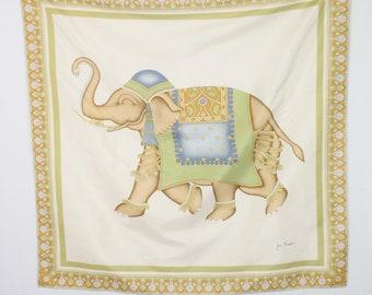Vintage Jim Thompson Elephant Silk Scarf Large Square Designer Scarf 36fac0cd59